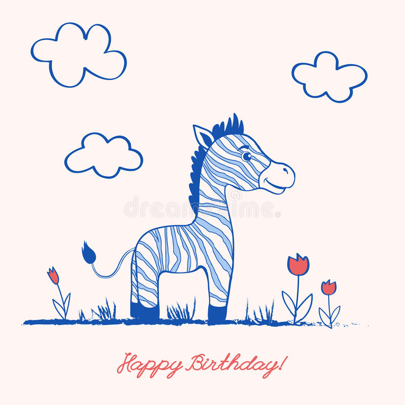 逗人喜爱的在草的动画片快乐的斑马沿郁金香在轻的背景,向量图形彩色插图开花 皇族释放例证