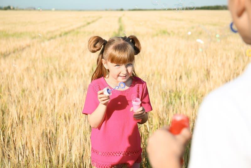 逗人喜爱的在麦田的女孩吹的肥皂泡在好日子 库存照片