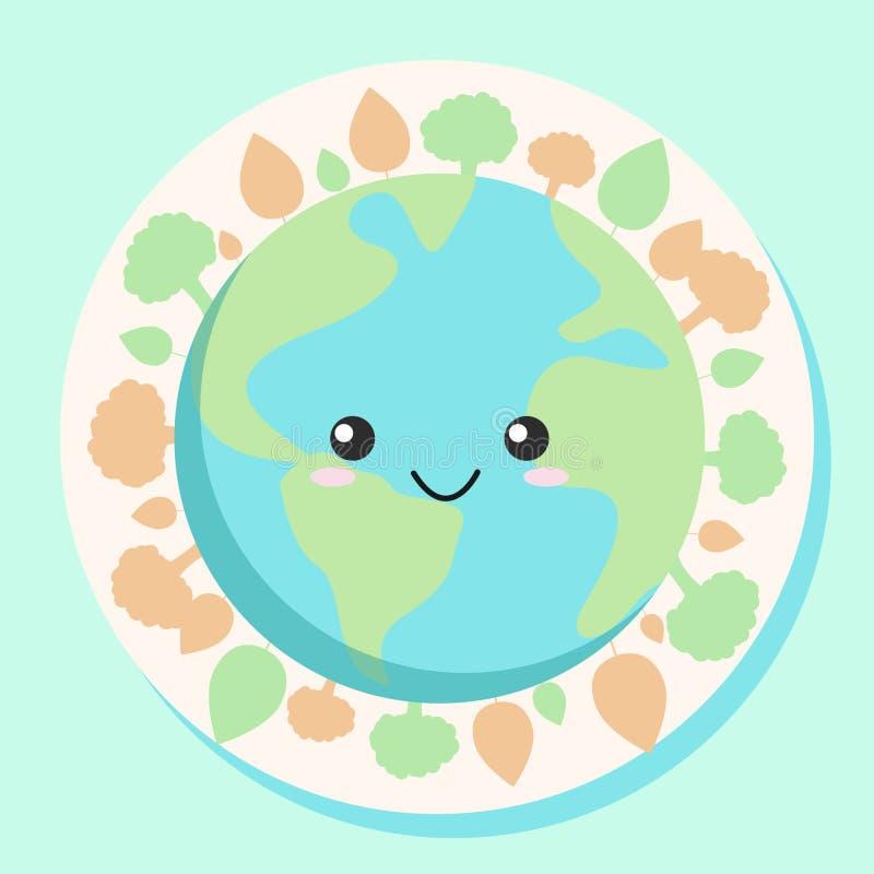 逗人喜爱的地球为地球日4月22日或地球健康天4月7日等等 库存例证