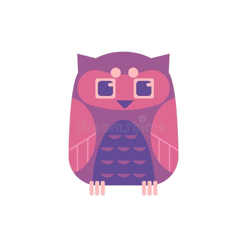 逗人喜爱的坐的猫头鹰-与滑稽的面孔和大眼睛的野生食肉动物的鸟 库存例证
