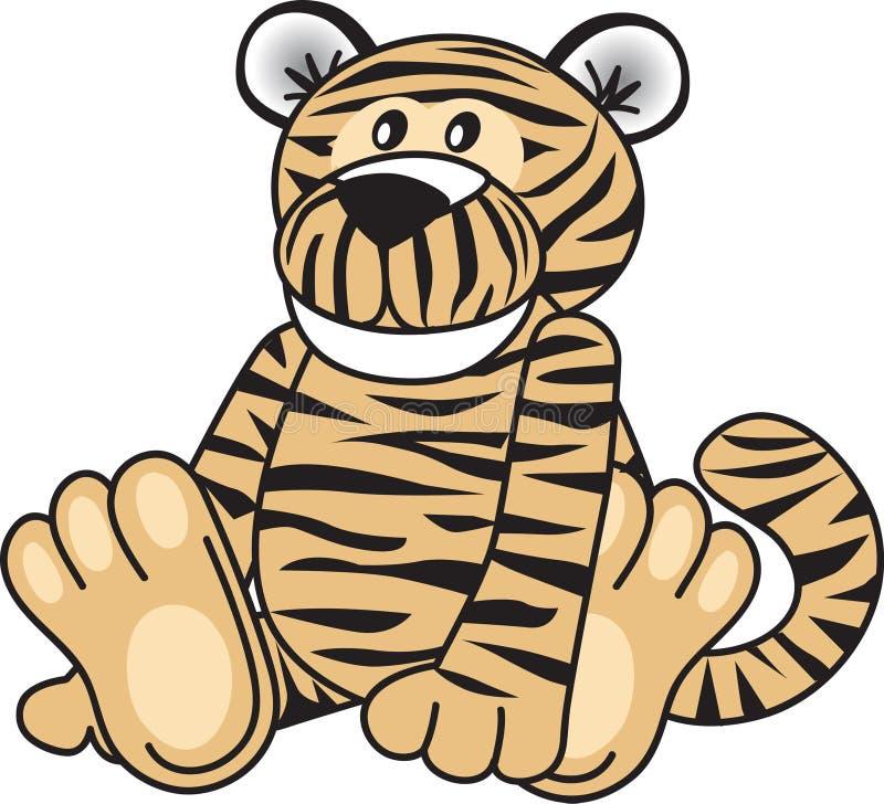 逗人喜爱的坐的老虎