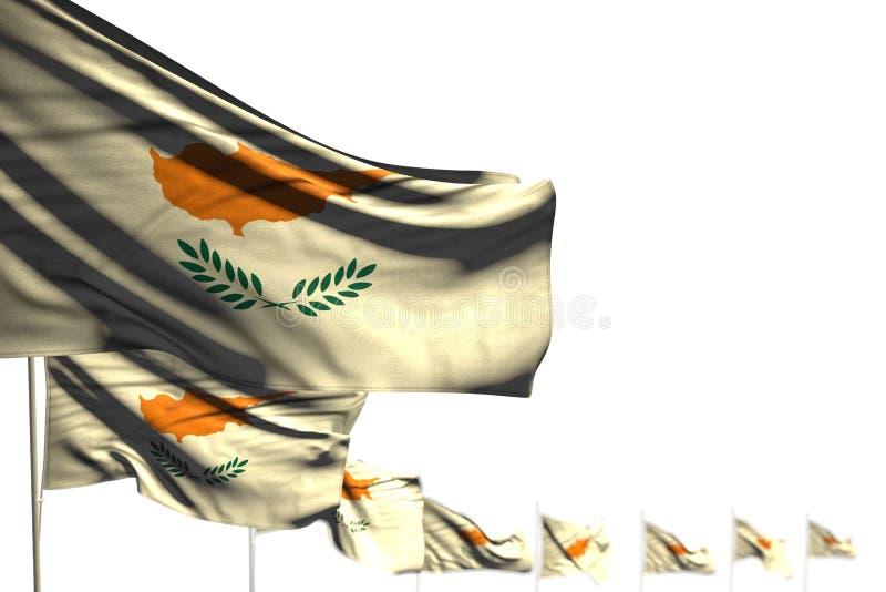 逗人喜爱的塞浦路斯隔绝了旗子安置了与软的焦点的对角,文本的-所有假日旗子3d例证图象和地方 向量例证