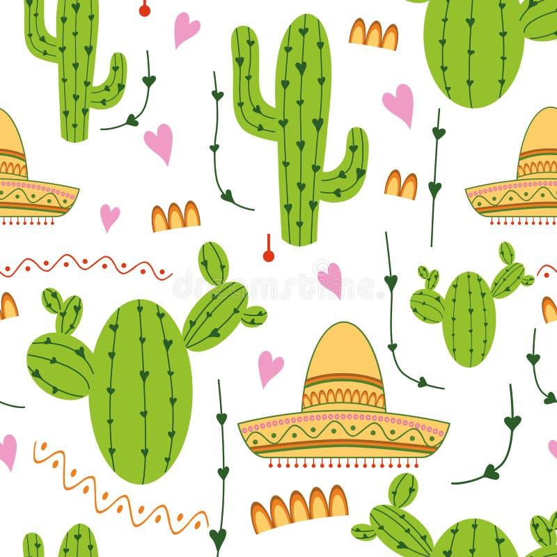 逗人喜爱的墨西哥无缝的样式用仙人掌,在绿色,黄色,桃红色和白色颜色的阔边帽 自然传染媒介背景 皇族释放例证