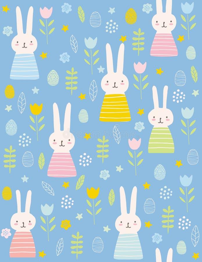 逗人喜爱的复活节兔子传染媒介样式 可爱的桃红色兔宝宝和鸡蛋在蓝色背景 向量例证