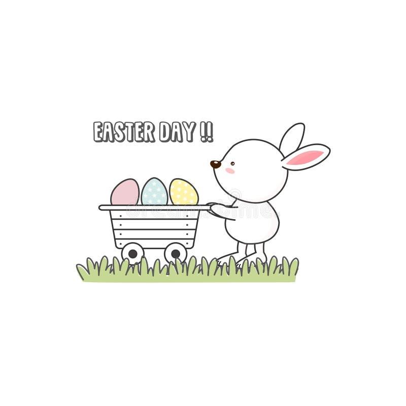 逗人喜爱的复活节兔子用复活节彩蛋 向量例证