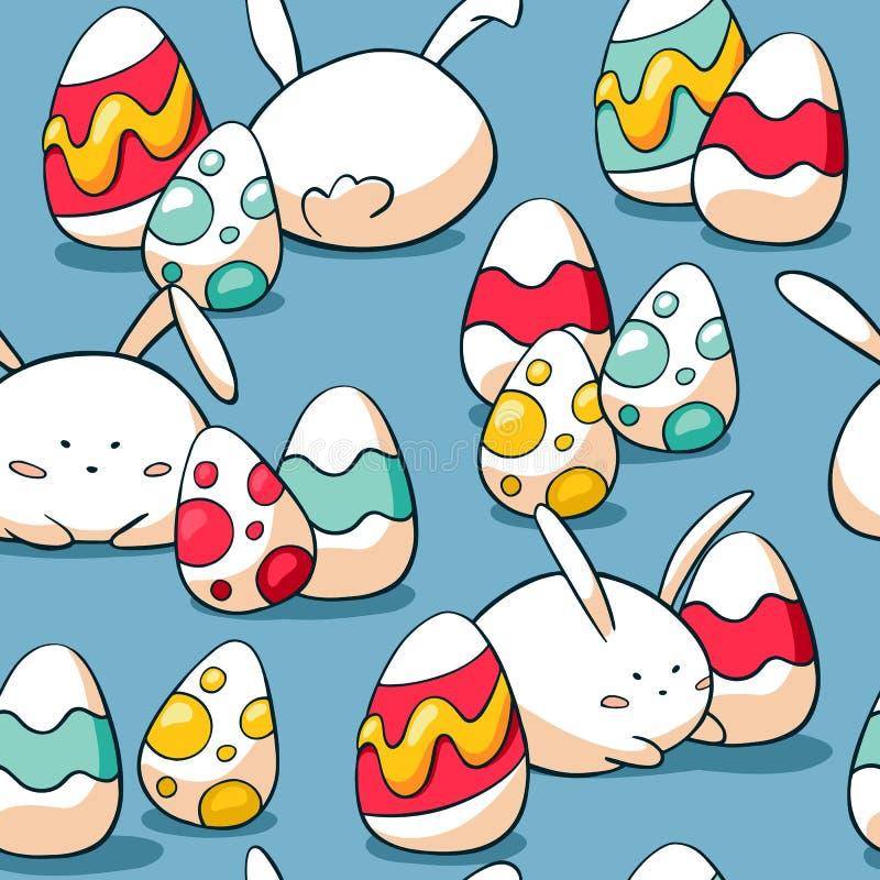 逗人喜爱的复活节无缝的样式用兔子和鸡蛋 肥胖兔子背景 手拉的乱画复活节彩蛋和兔宝宝 向量例证