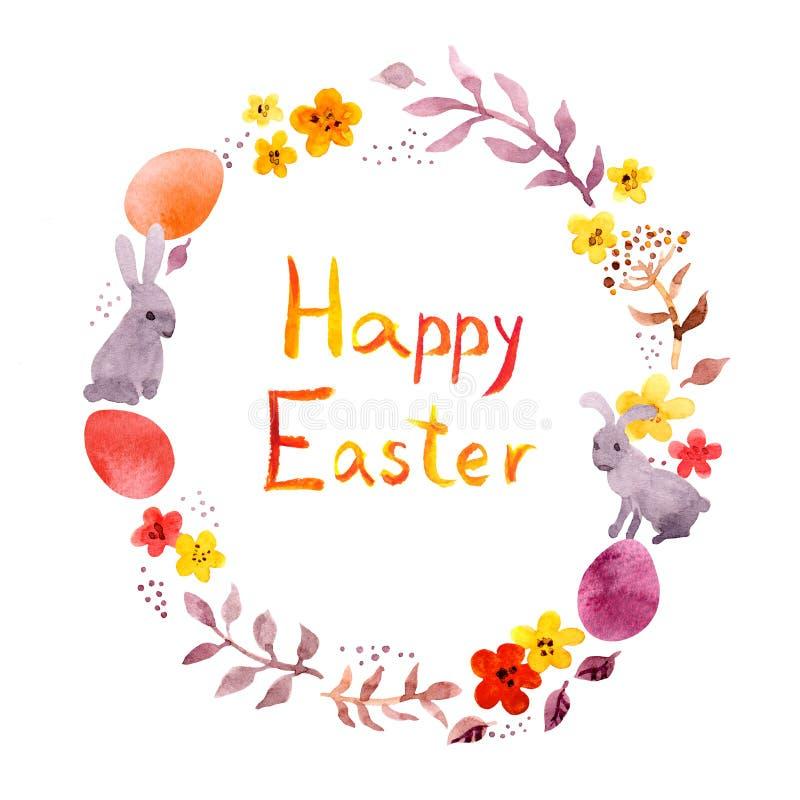 逗人喜爱的复活节花圈、复活节兔子、色的鸡蛋和花 在葡萄酒样式的圈子边界 水彩 皇族释放例证