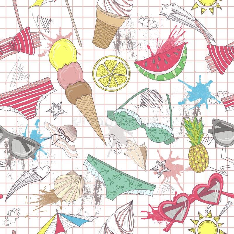 逗人喜爱的夏天摘要样式。无缝的样式机智 库存例证