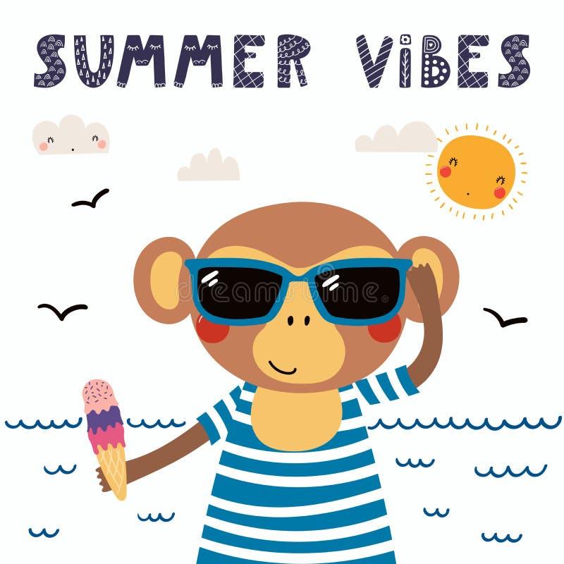 逗人喜爱的夏天猴子 皇族释放例证