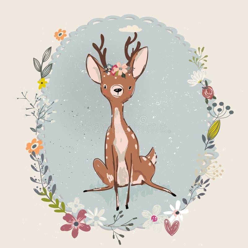 逗人喜爱的夏天鹿 向量例证