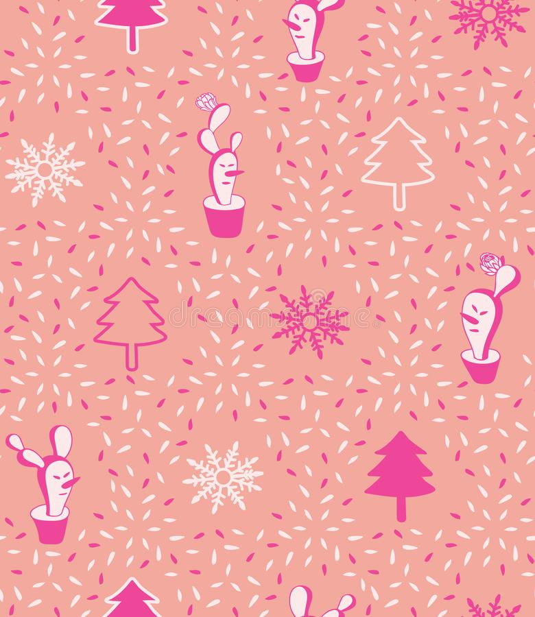 逗人喜爱的大胆的桃红色现代最小的圣诞节仙人掌雪人传染媒介无缝的样式背景 皇族释放例证