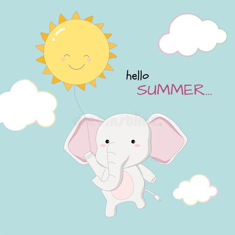 逗人喜爱的大象你好夏天横幅手拉的样式传染媒介 免版税库存图片