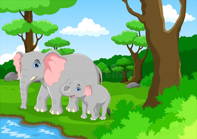 逗人喜爱的大象和她的婴孩 库存例证