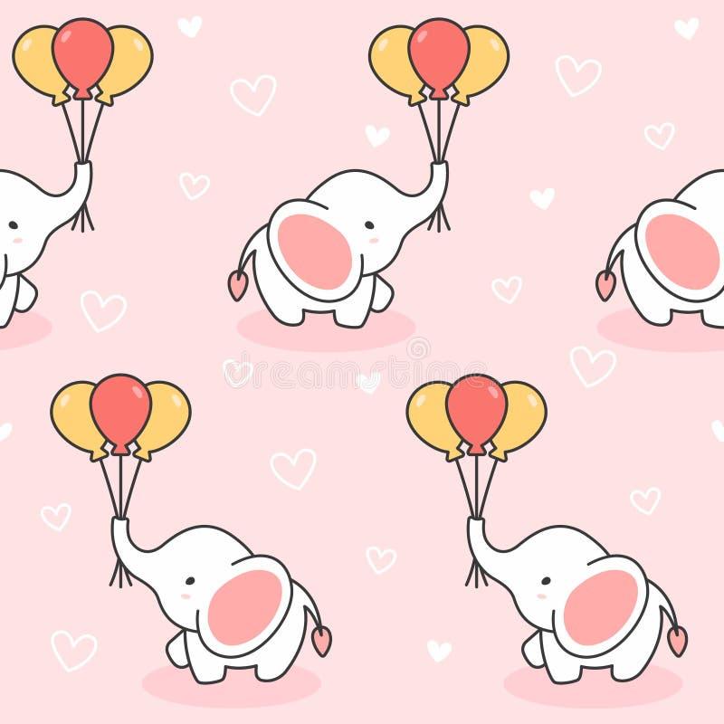 逗人喜爱的大象和气球无缝的样式背景 皇族释放例证