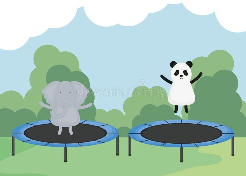 逗人喜爱的大象和熊猫在有弹性绷床 皇族释放例证