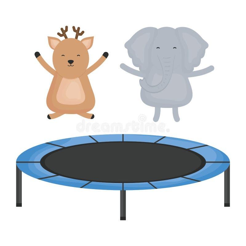逗人喜爱的大象和驯鹿在有弹性绷床 皇族释放例证
