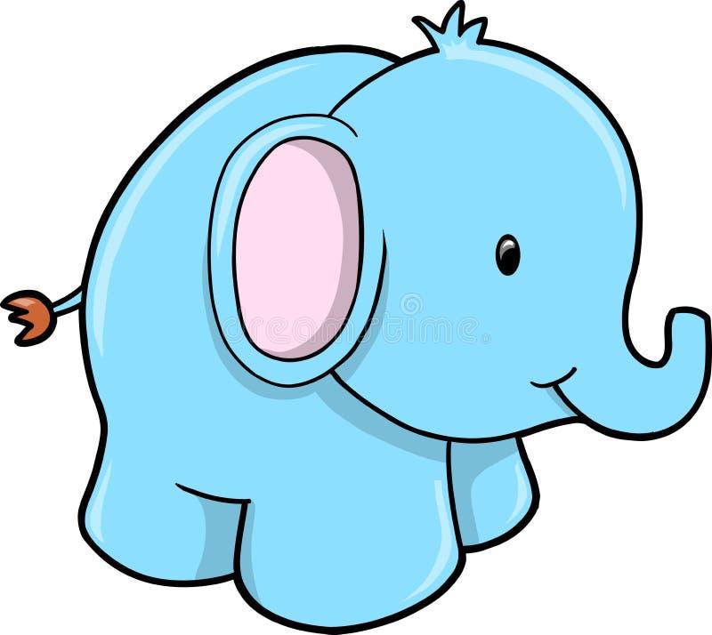 逗人喜爱的大象徒步旅行队向量 皇族释放例证