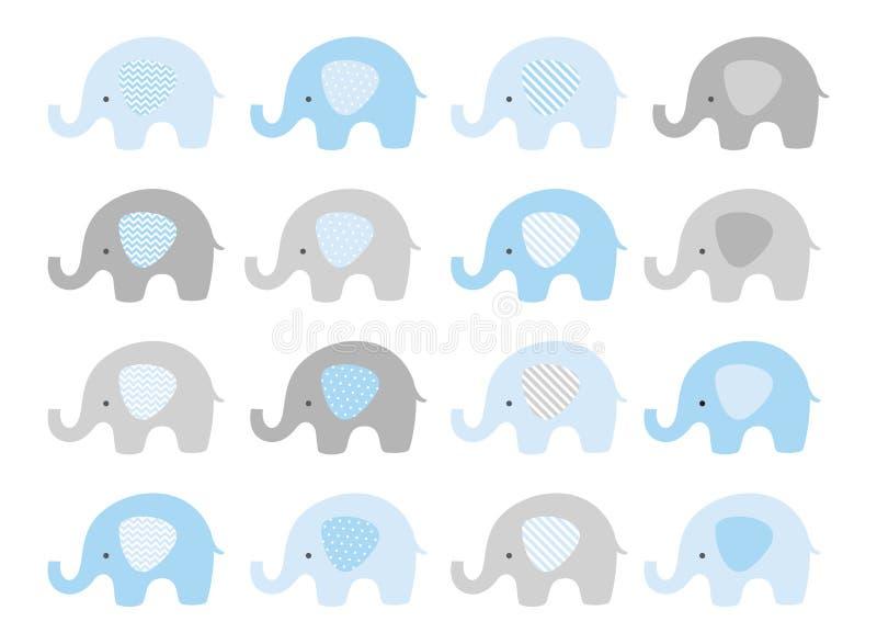 逗人喜爱的大象集合 与被仿造的耳朵的传染媒介大象 蓝色和灰色 向量例证
