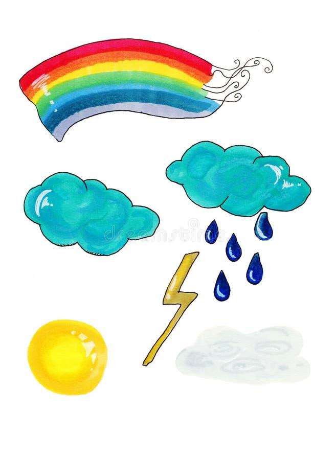 逗人喜爱的天气 动画片风化孩子的例证项目、晴朗的云彩和愉快的太阳面孔、月亮和龙卷风隔绝在白色, 图库摄影
