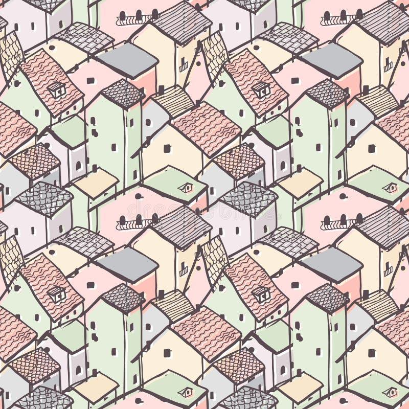 逗人喜爱的天真房子无缝的传染媒介样式 城市样式 孩子样式图画 库存例证