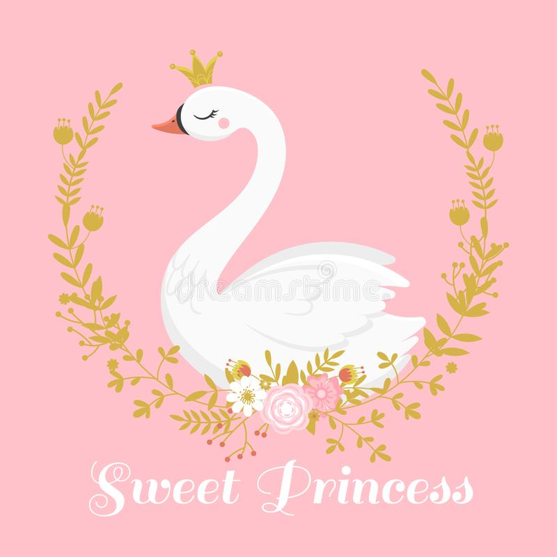 逗人喜爱的天鹅公主 在金黄冠,甜公主女孩礼品券传染媒介例证的美丽的湖天鹅鸟 皇族释放例证