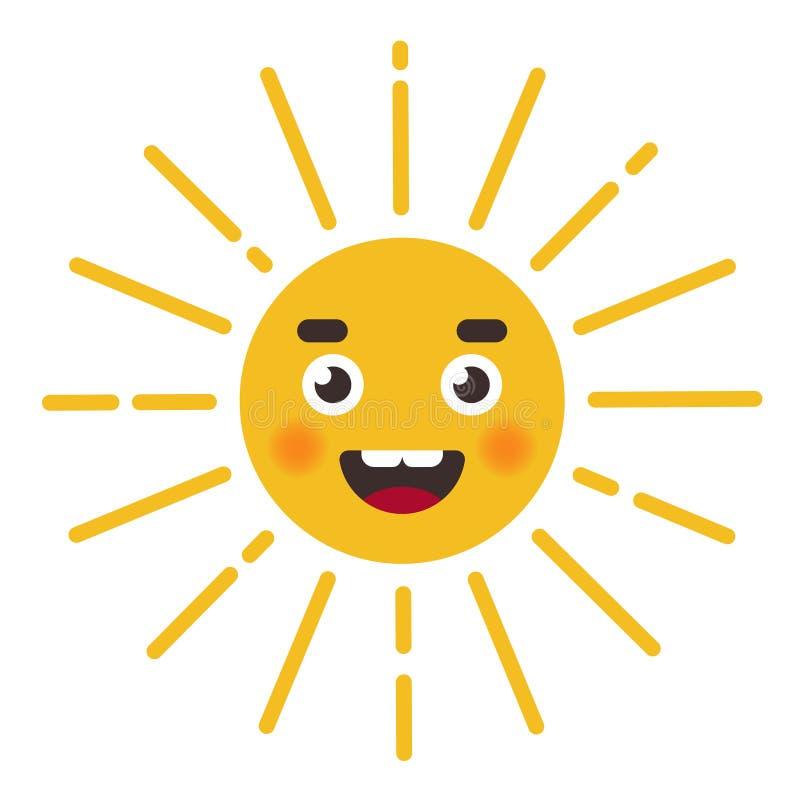 逗人喜爱的太阳字符 与光芒的字符的面孔 库存例证