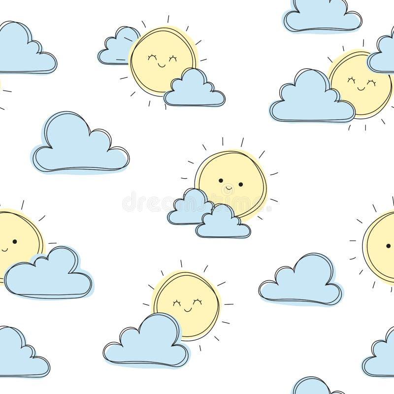 逗人喜爱的太阳有云彩背景,逗人喜爱的无缝的样式,动画片例证,孩子的背景,wallpapper,样式 向量例证