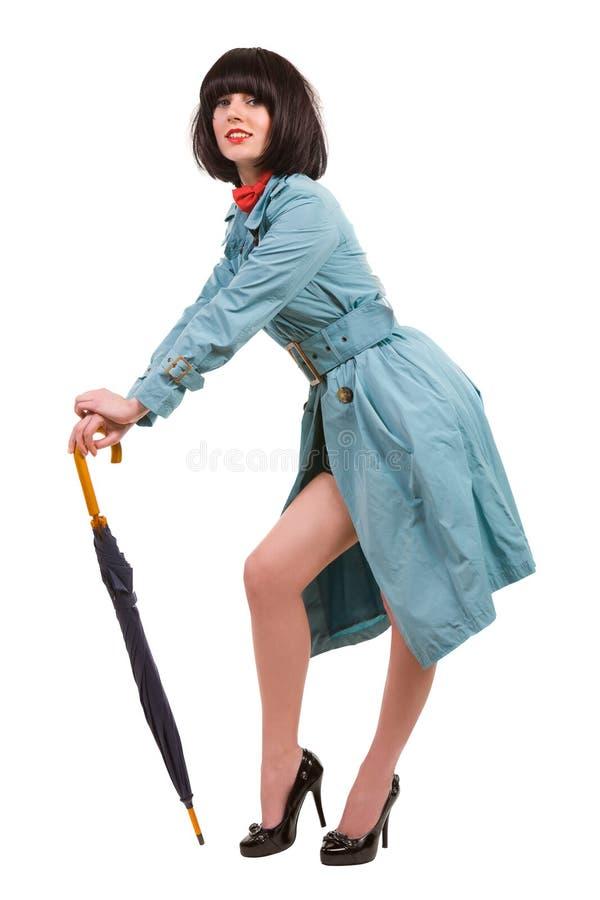 逗人喜爱的夫人伞年轻人 免版税库存图片