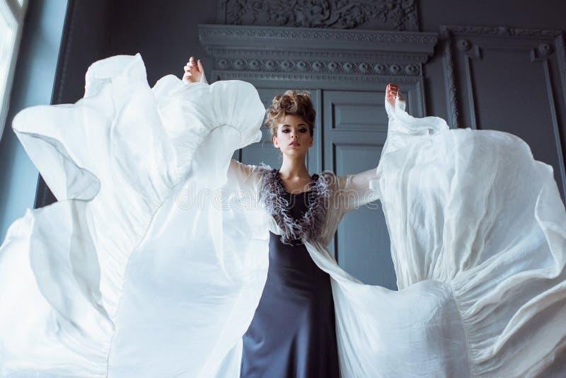 逗人喜爱的夫人时兴的女性画象户内礼服的 库存照片