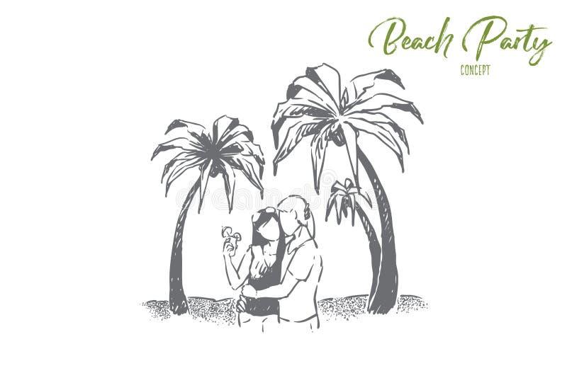 逗人喜爱的夫妇在度假一起,夏令时海滩日期,恋人的,拥抱在海洋的人们海边活动支持 向量例证