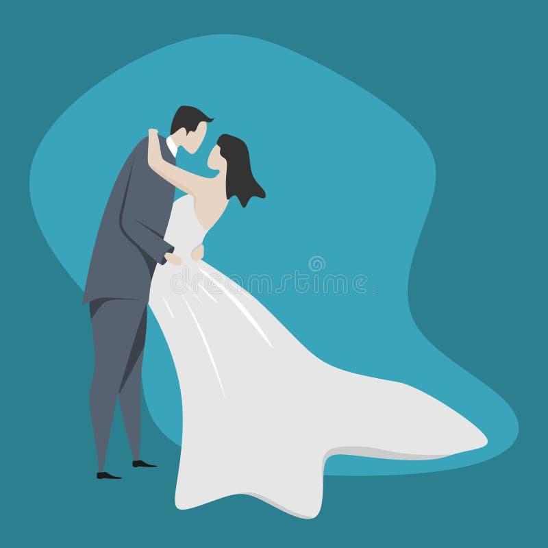 逗人喜爱的夫妇字符传染媒介例证 在爱动画片平的设计的婚姻的样式浪漫礼服 向量例证