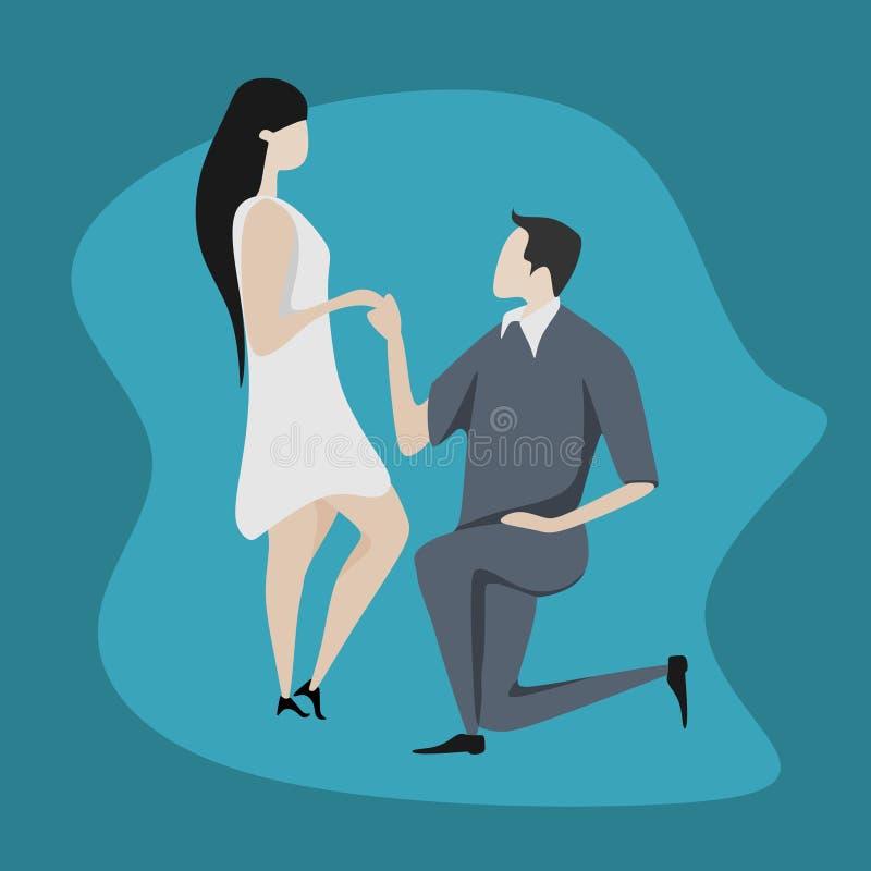 逗人喜爱的夫妇字符传染媒介例证 在爱动画片平的设计的婚姻的样式浪漫礼服 皇族释放例证