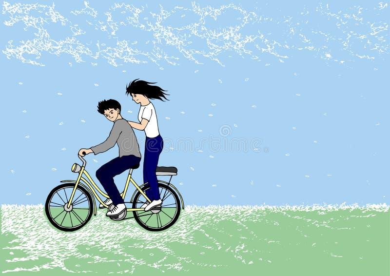 逗人喜爱的夫妇骑马自行车在公园,手拉,传染媒介 皇族释放例证