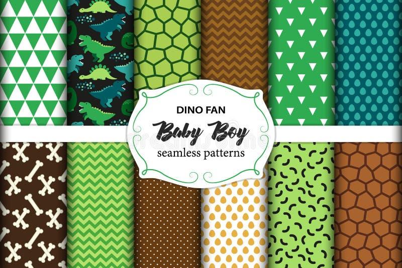 逗人喜爱的套与恐龙的幼稚无缝的样式理想对织品、墙纸和不同的表面 皇族释放例证