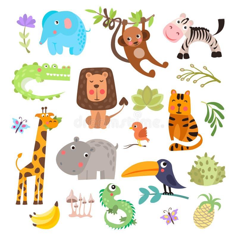 逗人喜爱的套徒步旅行队动物和花 大草原和徒步旅行队滑稽的动画片动物 密林动物传染媒介集合 鳄鱼 向量例证