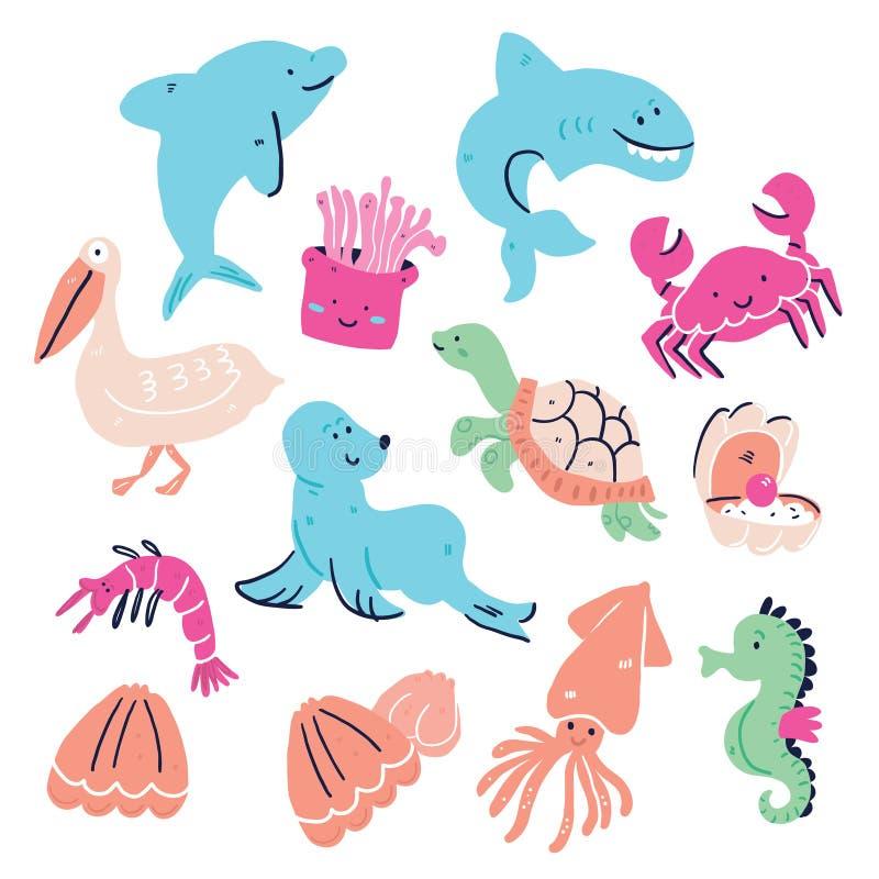 逗人喜爱的套手拉的海洋动物隔绝了 库存例证