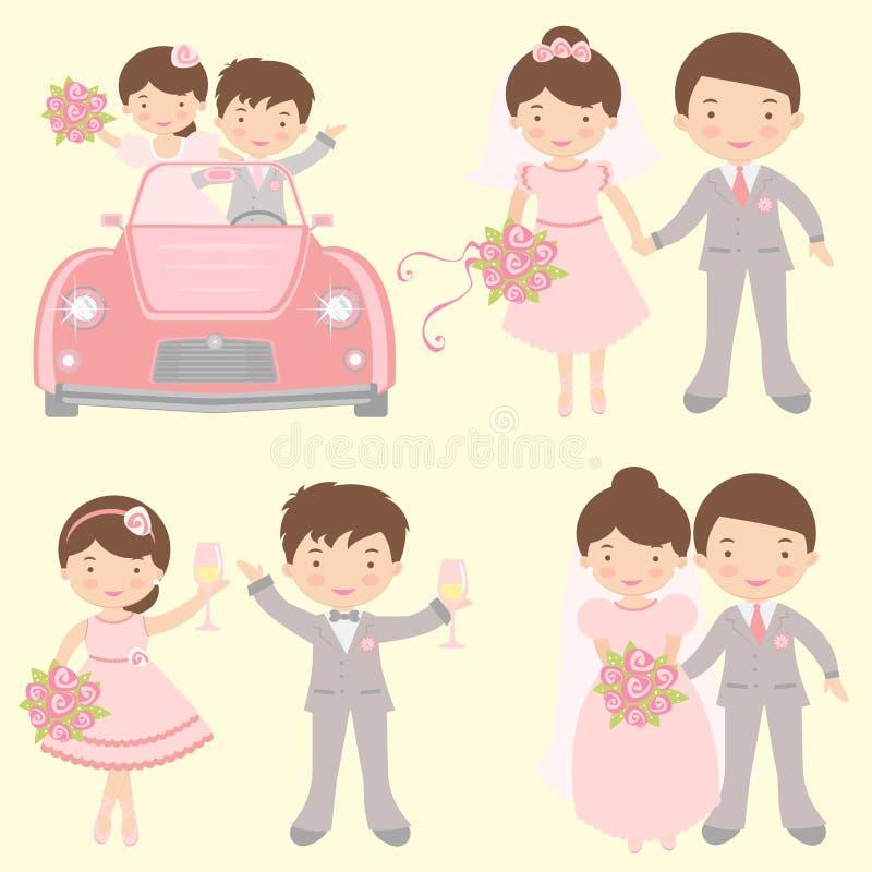 逗人喜爱的套新娘和新郎 皇族释放例证
