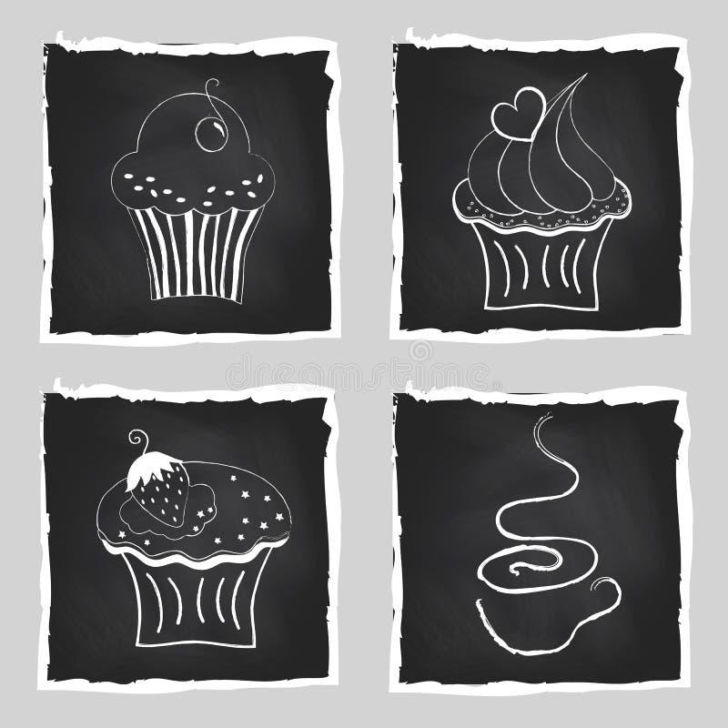 逗人喜爱的套明亮的杯形蛋糕和咖啡在黑板后面的 库存例证