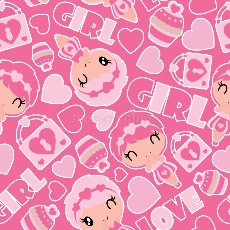 逗人喜爱的女孩、杯形蛋糕和挂锁的无缝的样式在桃红色背景传染媒介动画片例证华伦泰包装纸的 向量例证