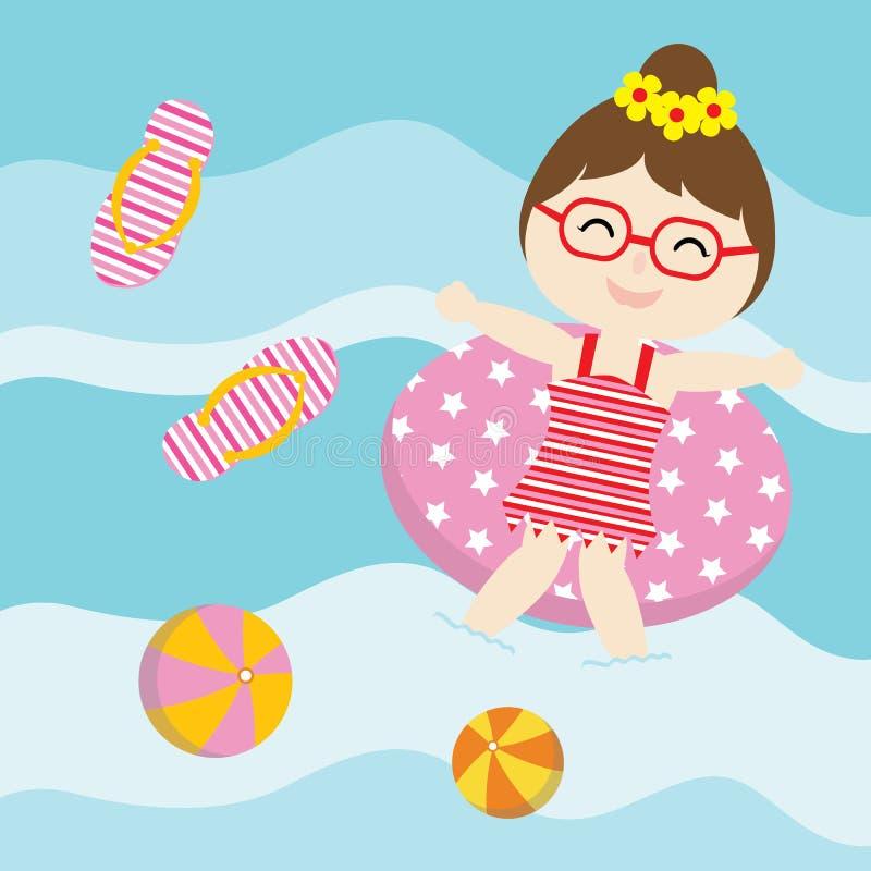 逗人喜爱的女孩使用与在水传染媒介动画片、夏天明信片、墙纸和贺卡的游泳圆环 库存例证