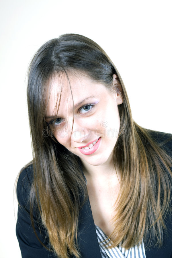逗人喜爱的女孩俏丽的微笑年轻人 免版税库存图片