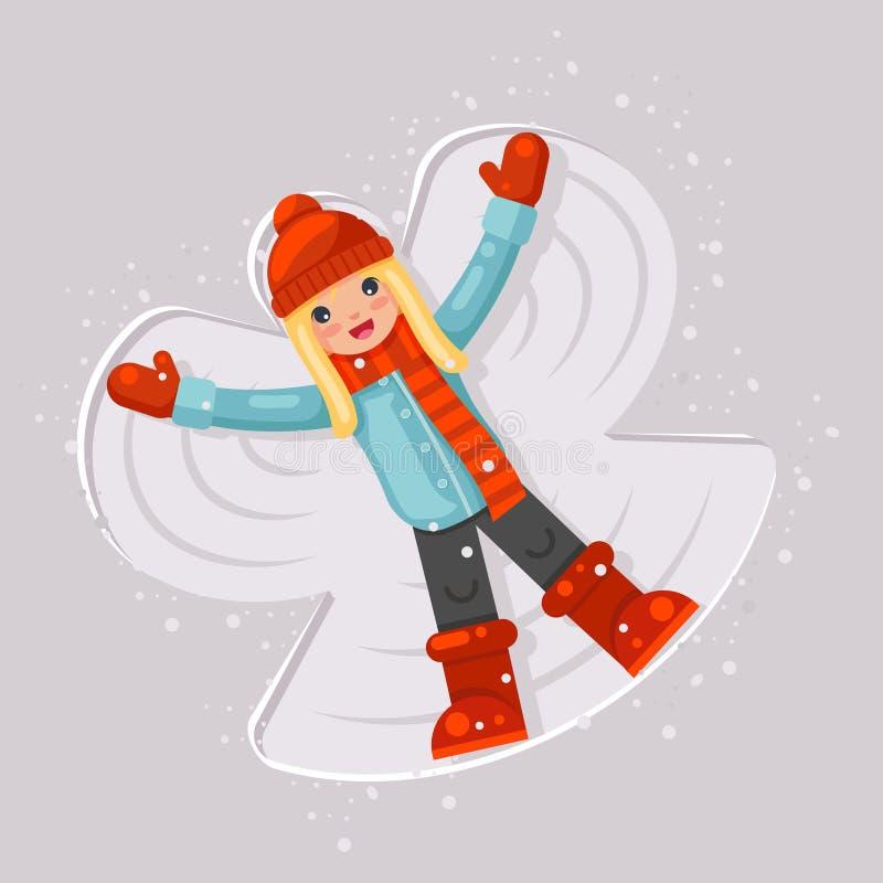 逗人喜爱的女孩做雪天使童年比赛说谎的后面移动的胳膊的和腿塑造平的设计传染媒介例证 向量例证