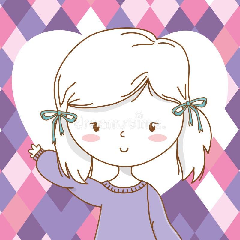逗人喜爱的女孩动画片时髦的成套装备画象听见背景 库存例证
