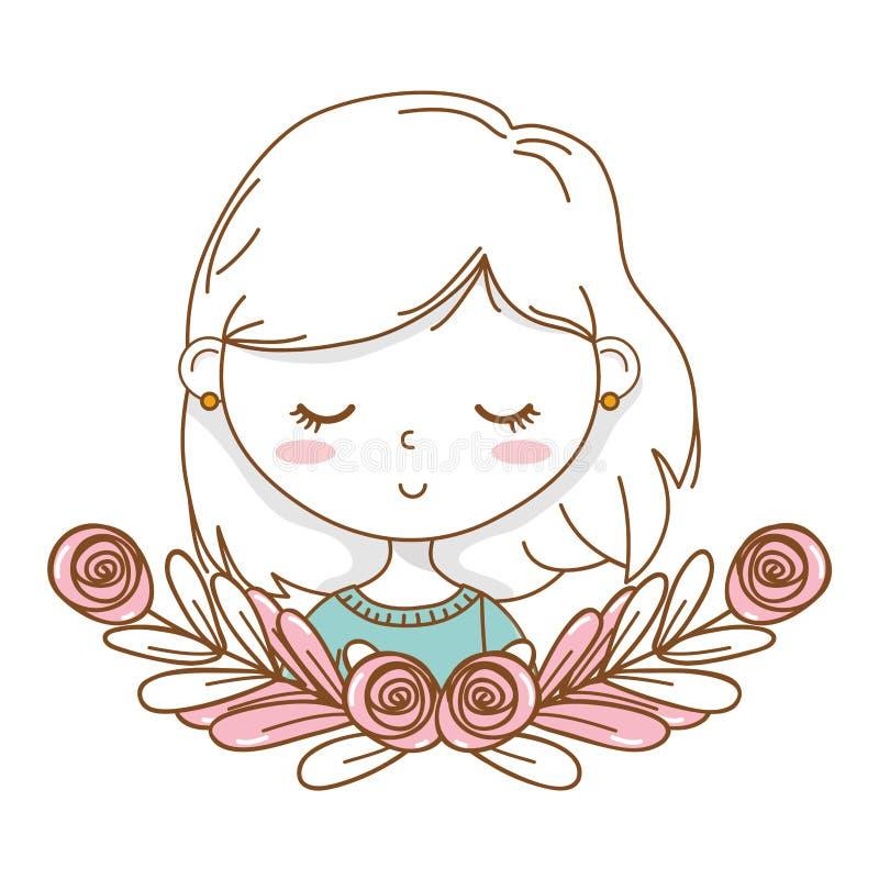逗人喜爱的女孩动画片时髦的成套装备画象花卉花圈框架 向量例证