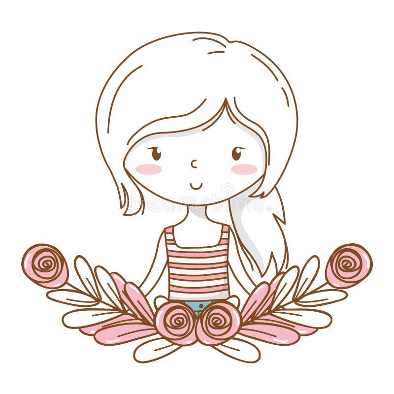 逗人喜爱的女孩动画片时髦的成套装备画象花卉花圈框架 皇族释放例证