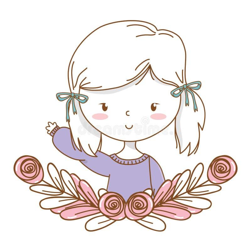逗人喜爱的女孩动画片时髦的成套装备画象花卉花圈框架 库存例证