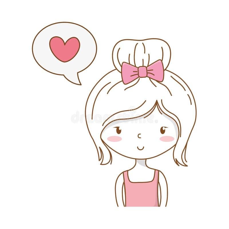 逗人喜爱的女孩动画片时髦的成套装备画象讲话泡影 向量例证