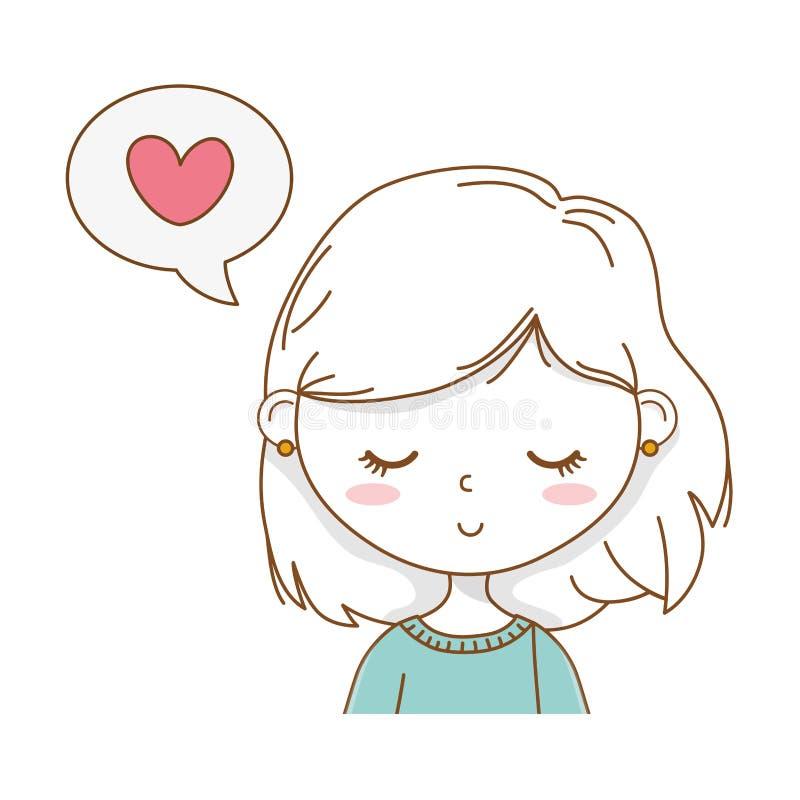 逗人喜爱的女孩动画片时髦的成套装备画象讲话泡影 库存例证