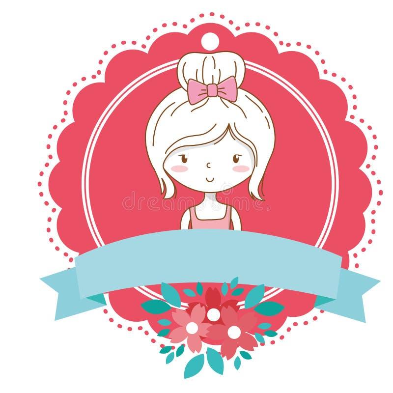逗人喜爱的女孩动画片时髦的成套装备礼服画象花卉绽放框架 库存例证