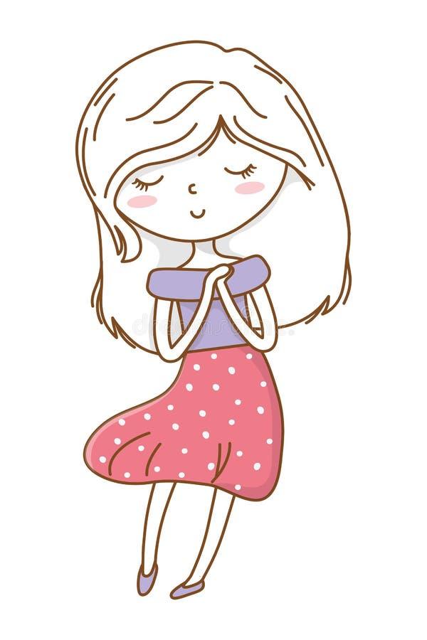 逗人喜爱的女孩动画片时髦的成套装备礼服隔绝了 库存例证